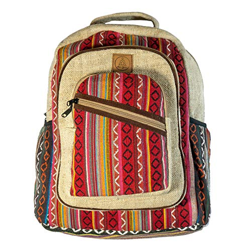 Natural Large Hemp Backpack - - Handmade Eco-Friendly Multipocket Laptop Bag Anti Theft Travel Bag - Multi Color Stripe/Hippie/Bohemian/Festival/College Student Notebook Bag, Red