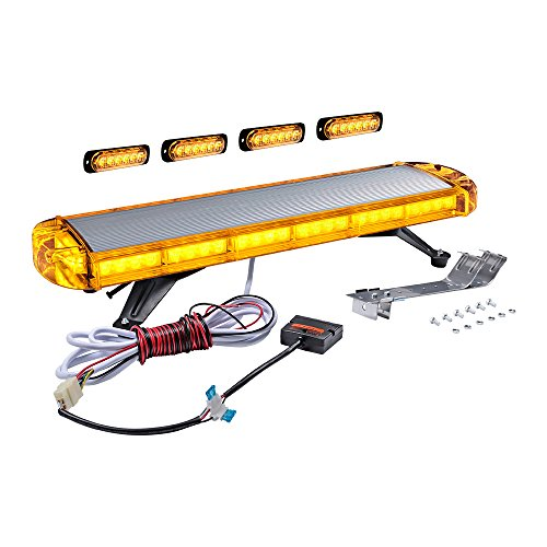 (Full LED Rooftop Side Car Tow Truck Emergency Warning Beacon Plow Safety Strobe Light Bar Kit (Amber, 30