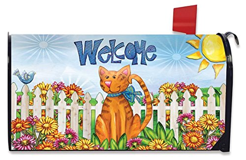 Welcome Cat Spring Mailbox Cover Floral Kitty Fence Standard Briarwood Lane Cat Mailbox Covers