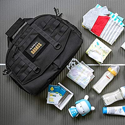 Black OneTigris Daddy Assault Messenger Bag Diaper /& Baby EDC Bag with Shoulder Strap and Buckled Stroller Straps