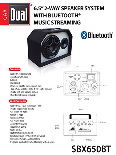 Dual Electronics SBX650BT 2 Way 6.5 inch Indoor Outdoor Bluetooth Powered Speaker with built-in Amplifier by Dual Electronics (Image #2)