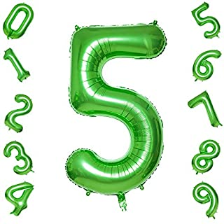 Green Number 5 Balloons,40 Inch Birthday Number Balloon Party Decorations Supplies Helium Foil Mylar Digital Balloons (Green Number 5)