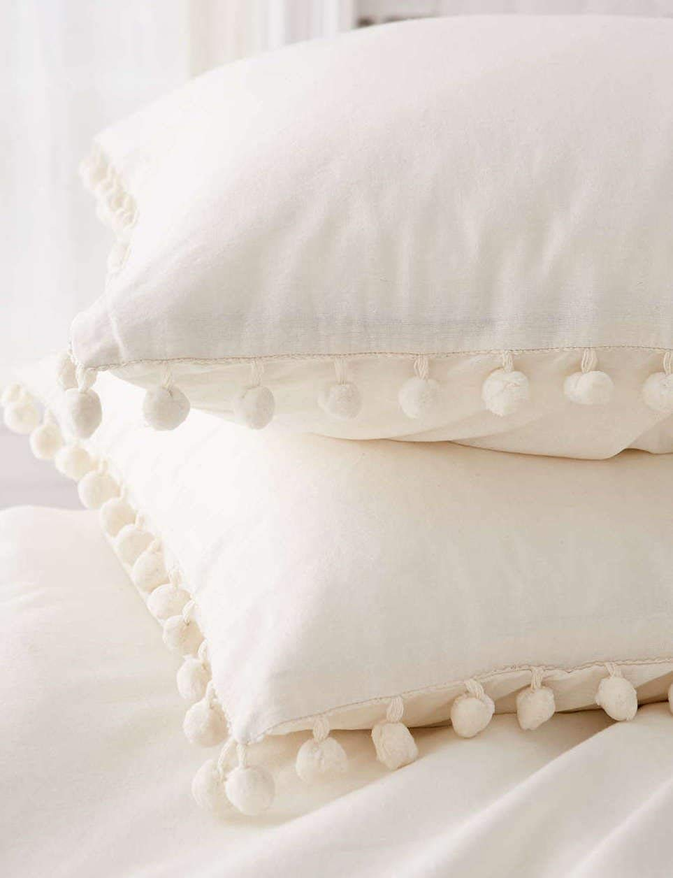 White Pom Pom Fringed Pillowcases Pillow Covers,19.7in x35.5in,Set of 2 (King)