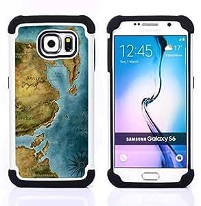 For Samsung Galaxy S6 G9200 - Ancient Map Continent Sea Ocean Chart /[Hybrid 3 en 1 Impacto resistente a prueba de golpes de protecci????n] de silicona y pl????stico Def/ - Super Marley Shop -