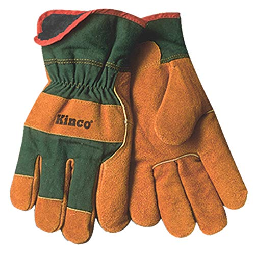 (KINCO 1721GR-L Men's Lined Leather Palm Gloves, Suede Cowhide, Green Fabric Back, Large, Russet)