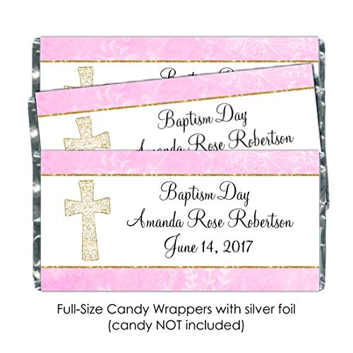 25 Baptism Candy Wrappers, Christening or Baptism Day Custom Wrappers in Pink