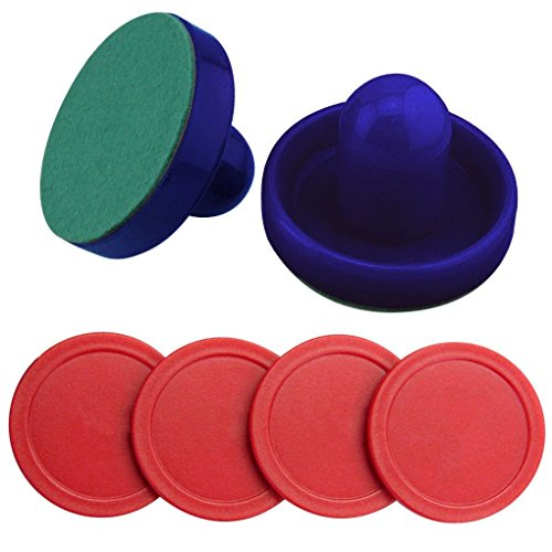 [Mememall Fashion 2 Dark Blue Air Hockey Pushers & 4 Red Air Hockey Replacement Pucks Paddles Set] (Puck To The Face Costume)
