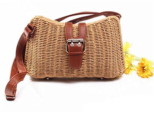 Bali RectáNgulo De RatáN Bolsos Hechos A Mano Crossbody Bolsa Retro Straw Handbags Correas De Cuero Shoulder Bag Summer Outfit Camel Camel