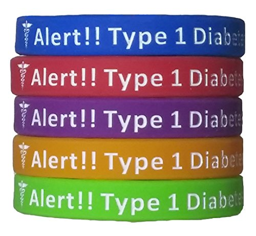 Type 1 Diabetes Bracelets Silicone Medical Alert Wristbands (Pack of 5) Adults & Kids Sizes (6.5 inches) ()