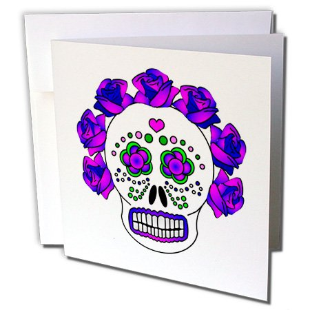 3dRose 8 x 8 x 0.25 Inches Day of the Dead Skull Dia De Los Muertos Purple Greeting Cards, Set of 6 (gc_24638_1)