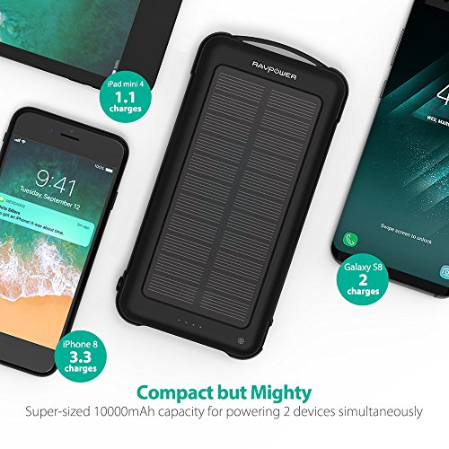 Solar Charger RAVPower 10000mAh Outdoor Battery Pack with iSmart 2.0 and Dual Input (Solar and Outlet), Shockproof Solar Power Bank with LED Flashlight for iPhone, Galaxy, Android, and More by RAVPower (Image #3)