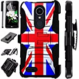 zte zmax british - For ZTE Blade X Max Case / ZTE ZMax Pro Case / ZTE Carry Case Armor Hybrid Silicone Cover Stand LuxGuard Holster Combo Pack (British Flag New)