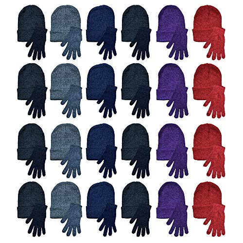 Yacht & Smith 48 Pack Wholesale Bulk Winter Thermal Beanies Skull Caps, Thermal Gloves Unisex (Hat Glove Set B)
