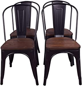 H JINHUI Dining Chairs Set of 4, Black Metal Indoor-Outdoor Use Stackable Classic Trattoria Chair Chic Dining Bistro Cafe Side Metal Chairs with Wooden Seat