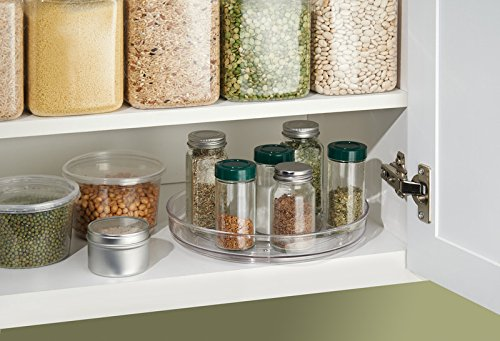 mDesign Lazy Susan Turntable Food Storage Container for Cabinets, Pantry, Refrigerator, Countertops, BPA Free - Spinning Organizer for Spices, Condiments, Baking Supplies - 9'' Round, Pack of 2, Clear by mDesign (Image #2)