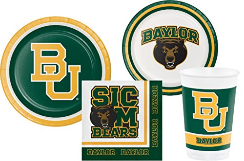 Baylor University Bears Party Supply Pack! Bundle Includes Paper Plates Napkins & Cups for 8 Guests