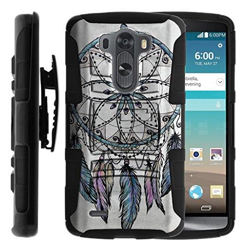 TurtleArmor | LG G3 Case | D850 | D855 | D851 | VS985 | LS990 [Hyper Shock] Hybrid Dual Layer Armor Holster Belt Clip Case Kickstand - Dreamcatcher Feathers
