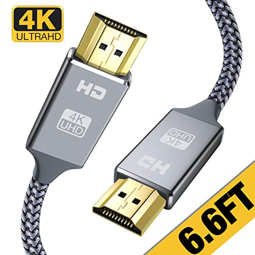 4K HDMI Cable 6.6 ft,Capshi High Speed 18Gbps HDMI 2.0 Cable,4K, 3D, 2160P, 1080P, Ethernet - 28AWG Braided HDMI Cord - Audio Return Compatible TV, PC, Blu-Ray Player