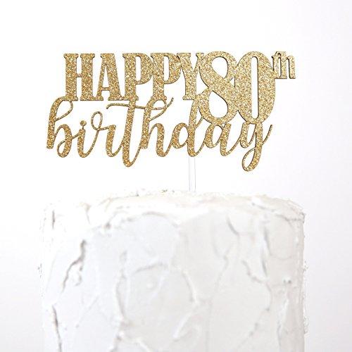 NANASUKO 80th Birthday Cake Topper HAPPY Premium Quality Made In USA