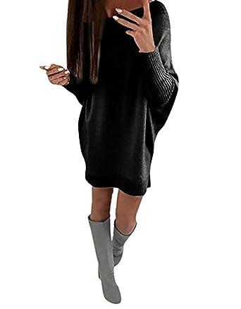 buy online c974d 54bba ShallGood Donna Collare Obliquo Vestiti Invernali Eleganti Pullover Abito  Manica Lunga Mini Dress Casuale Vestito A Maglia Maglione Nero IT 50