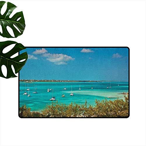 RenteriaDecor Sailboat,Door mat Sailboats and Power Boats Anchored in Crystal Clear Waters of The Bahamas 20