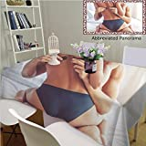 Unique Custom Cotton Linen Tablecloths Cropped Image Beautiful Passionate Couple Having Sex On Bed Man is Unfastening Bra Tablecovers Rectangle Tables, 70'' Wx 52'' L, 180x130cm