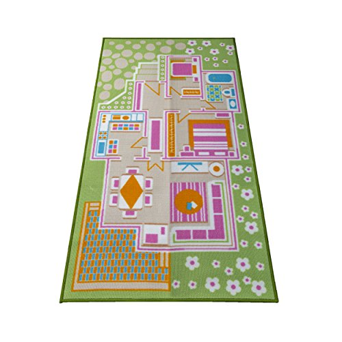 Kids Carpet Playmat Rug Play Time! Fun House Great for Playing with Dolls Mini People Figures Cars, Toys - Learn Educational Play Safe & Have Fun - Children Play Mat,Play ()