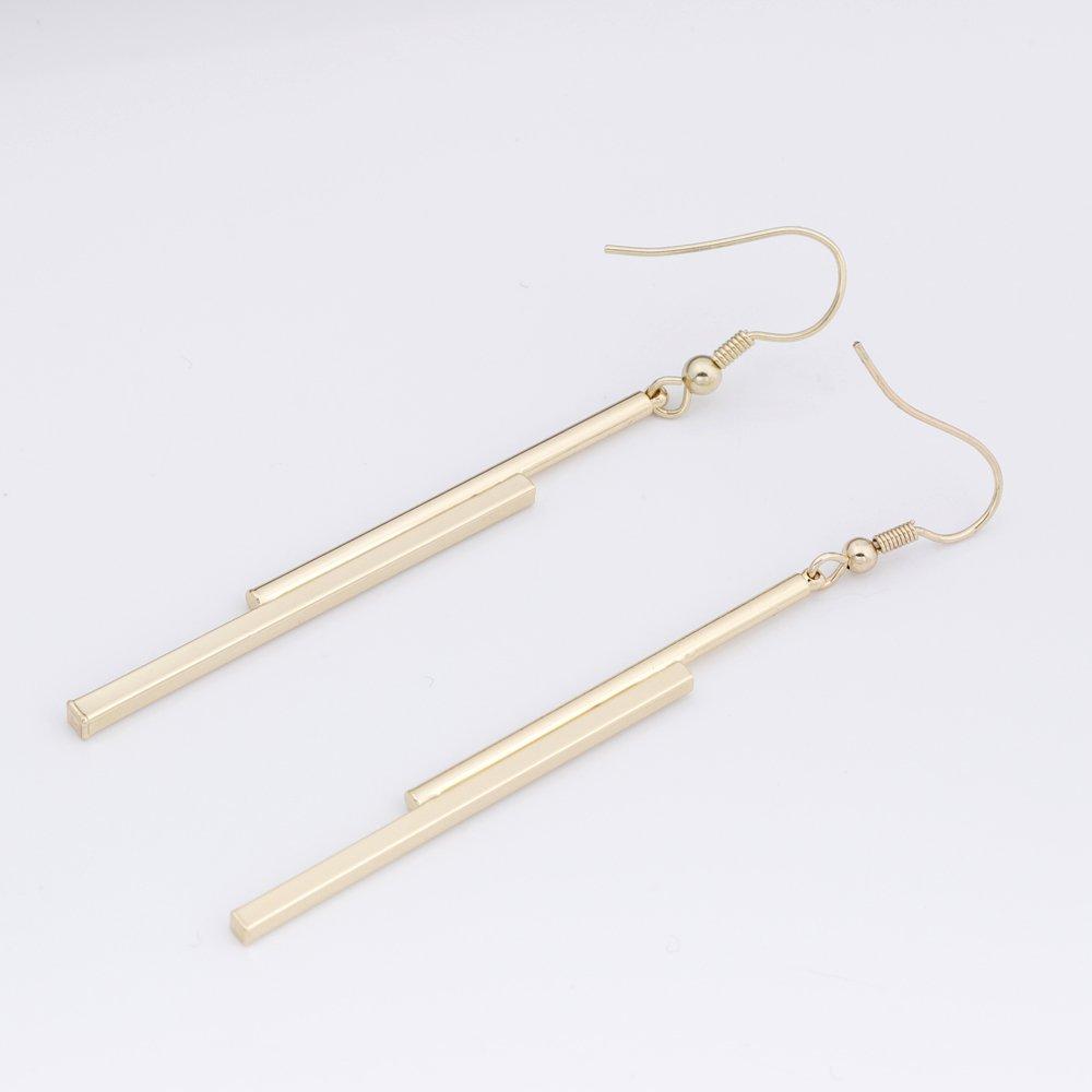 bea02e94e Amazon.com: CHUANGYUN 3 Colors Minimalist Long Strip Drop Dangle Earrings  for Women Simple and Elegant (Silver): Jewelry