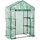 MRT SUPPLY 4.5'x2.5'x 6.5' 3 Tier 6 Shelf Outdoor Portable Walk-In Greenhouse Lightweight Deck with Zippered Door with Ebook