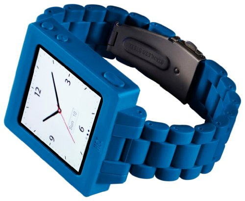 Link Plastic Band (HEX HX1015-BLUE Icon Plastic Link Watch Band for iPod Nano 6G -Blue)