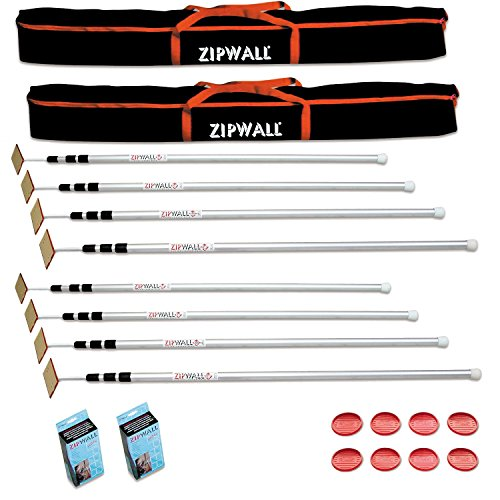 Zipwall 12 4-Pack Dust Barrier System- 2 Pack
