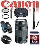 Deluxe Safari Kit For Canon Rebel XTi, T3, T3i, T4, T5, T5i w/ Monopod, Gadget Bag, 32GB, Waterproof Binoculars 8x21