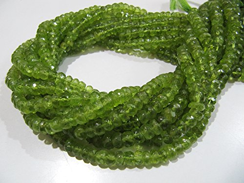 (AAA Quality Natural Peridot Gemstone Beads / Best Quality Rondelle Faceted 5-6mm Size Peridot Beads / Strand 13