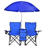 Flexzion Double Folding Chair With Removable Umbrella Table Cooler Bag Fold Up Steel Construction Dual Seat for Patio Beach Lawn Picnic Fishing Camping Garden and Carrying Bag