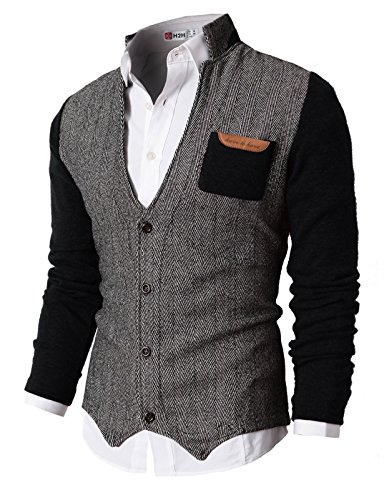 H2H Mens Herringbone Cardigan Sweater Of Knitted Sleeves BLACK US M/Asia L (KMOSWL015) (Clothing Mens)