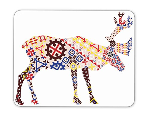 A silhouette of a reindeer Lapland patterns mouse pad,Natural Rubber Mouse Pad, Quality Creative Wrist-protected Wristbands Personalized Desk, Mouse Pad (9.5 inch x 7.9 (Lapland Reindeer)