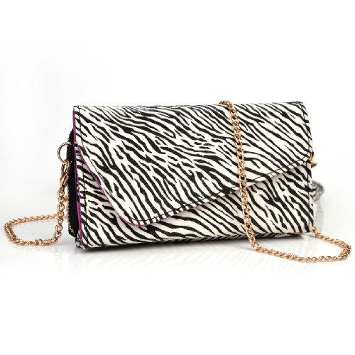 Kroo Clutch Wallet with Wristlet and Crossbody Strap for 5-Inch Smartphone - Frustration-Free Packaging - Black and White Zebra