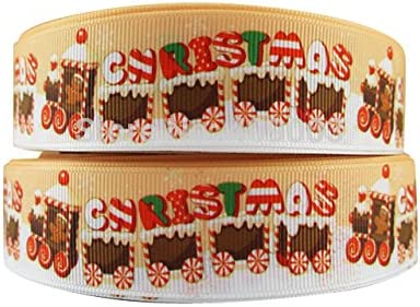 Cute Christmas Gingerbread Train 2m X 22mm Wide Christmas Cake Ribbon Gift Wrap Decoration Ribbon Decorating Ideas For Present Bows Toppers Or Wrapping Bags Box Balloon String Cards Art Craft Amazon Co Uk