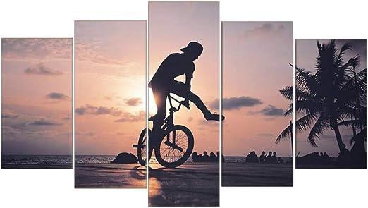 Luziang Pintura Mural Cuadro de Bicicleta decoración Pared Pintura ...