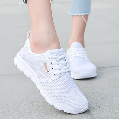 Women Soles Lace Tie Up Mesh New Outdoor Espadrilles Running Sneakers White Casual Shoes Up Comfortable Sports 0p8v0qrIn