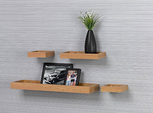 "O&K Furniture Modern Home Oak Floating Wall Shelf, Photo Ledge Shelves (Set of 4, 22"" Length"