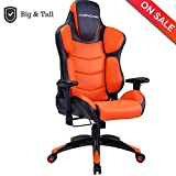 HAPPYGAME Large Size Racing Gaming Chair 350 lbs Capacity Ergonomic High Back Office PC Computer Desk Chairs PU Leather Executive Office Chair, Orange