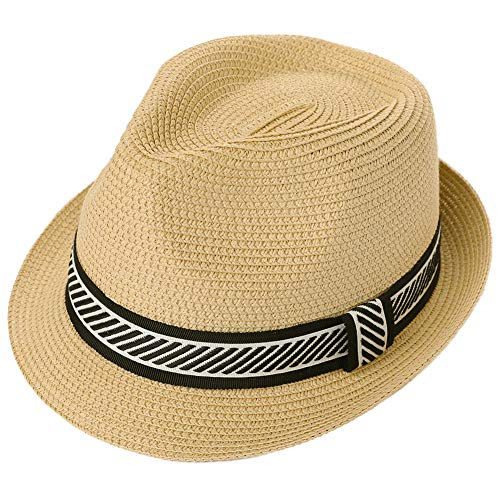 Men Packable Straw Fedora Kentucky Derby Summer Beach Panama Hat Trilby Large Head Women 58-60cm]()