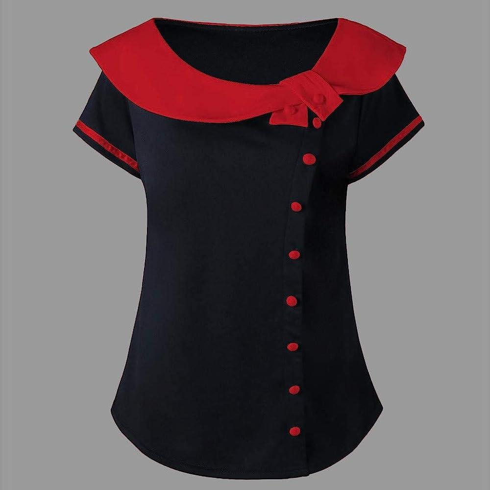 SamMoSon 2019 Camisetas Mujer Tallas Grandes Camisetas Mujer Verano Tops Mujer Primavera Camisetas Mujer Largas Camisetas Mujer Manga Larga Algodon Tallas Grandes Mujer Fiesta Blusas(Rojo,XXXXL): Amazon.es: Ropa y accesorios