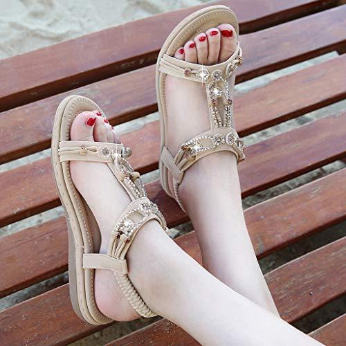 Appartement Femme❤décontractée Élastique Sandales Romaines Chaussures Wudube Beige ZiOkXuwTP