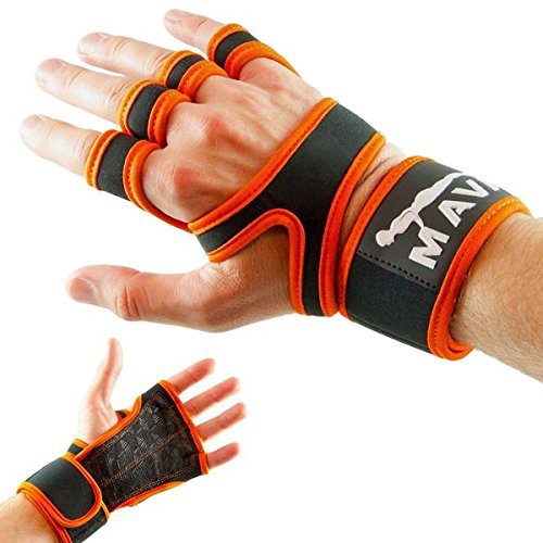 Cross Training Gloves with Wrist Support for Fitness, WOD, Weightlifting, Gym Workout & Powerlifting - Silicone Padding to avoid Calluses - Suits both Men & Women, Strong Grip (BrightOrange, Medium)