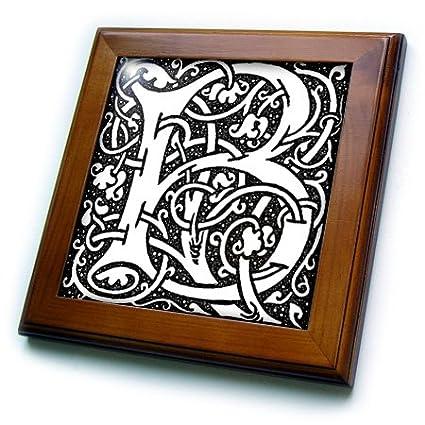 3dRose ft/_193097/_1 Print of Late Victorian Letter Bin Black N White Framed Tile 8 by 8-Inch
