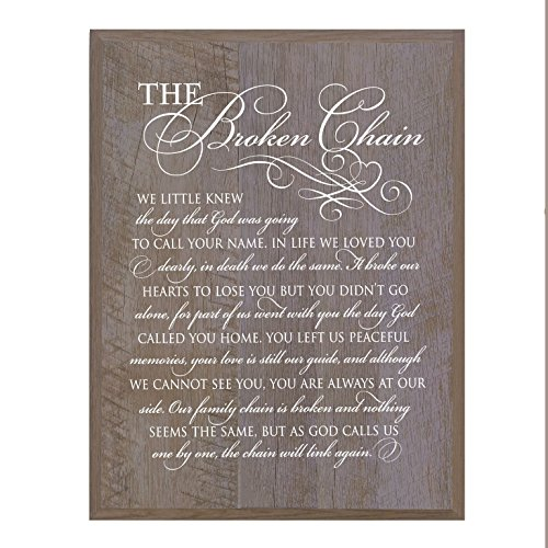 Memorial Wall Plaque - LifeSong Milestones Memorial gift for loss of loved one, Mother, Father, Wife, Husband, Son, Daughter Sympathy gift ideas wall plaque The Broken Chain size 12 x 15 by (Barnwood)