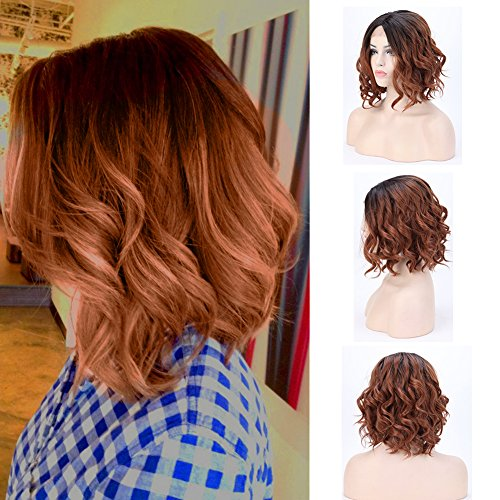 - Glueless Lace Front Wig Ombre 2 Tone Color 14inch Fluffy Body Wave Synthetic Bob Wig Natural Loose Deep Invisible with Natural Hairline Curly Wavy Short 14'',1B/30 Natural Black to Light Auburn