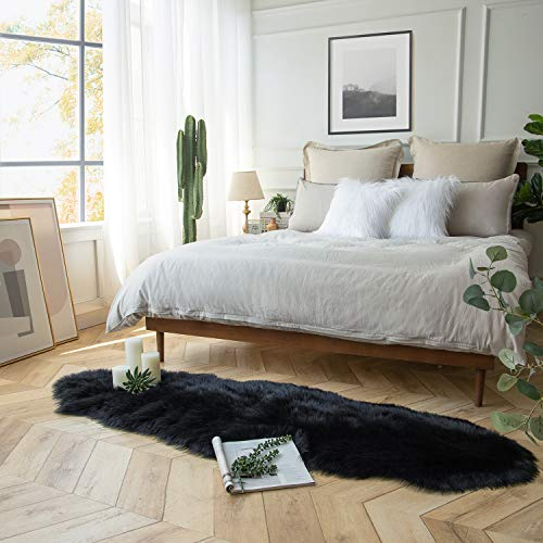 Ashler Soft Faux Sheepskin Fur Rug Black Fluffy Area Rug Shag Rug Carpets For Bedroom Living Room 2 X 6 Feet Pricepulse